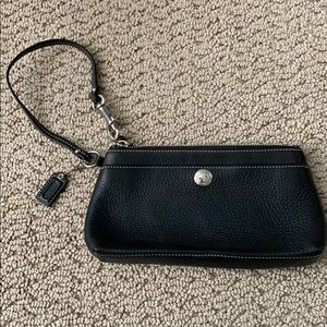 Black pebbled leather Coach Wristlet